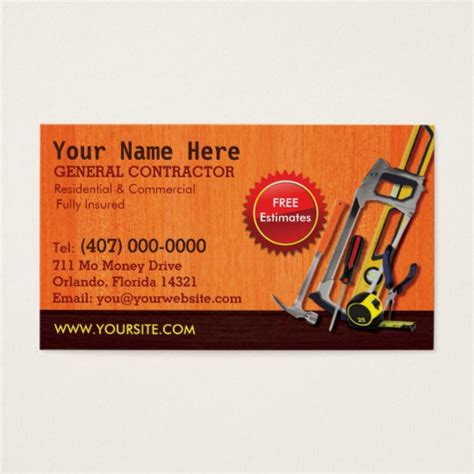 contractor business card templates free general contractor handyman business card template