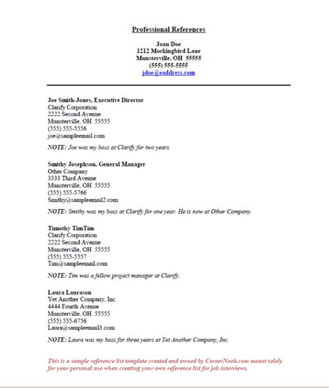 resume reference list format of references template templates