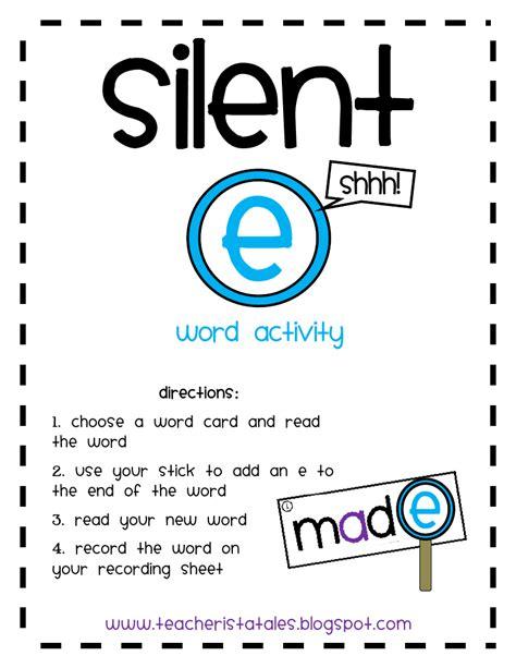 Silent E Worksheets by Tales Of A Teacherista Silent E Freebie