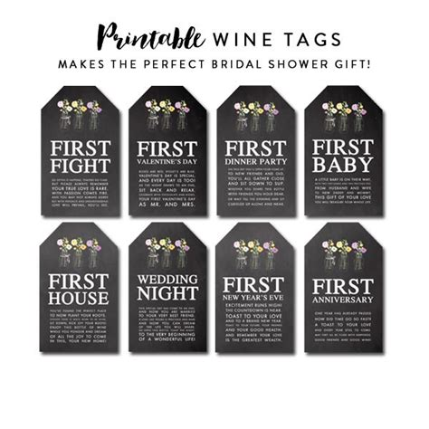 printable wine tags for bridal shower wine tags perfect bridal shower gift chalkboard mason