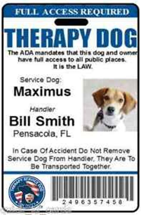 pet id cards template therapy id badge service id card ada working