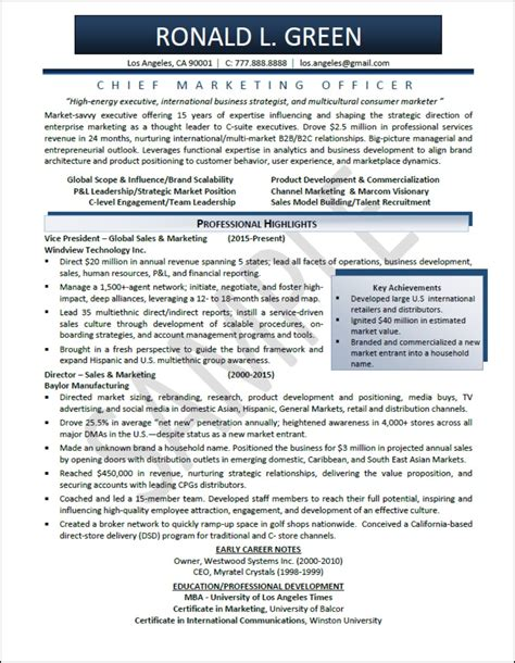 executive level resume sles executive resume sles professional resume sles
