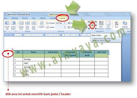 membuat judul tabel html cara membuat isi cell judul kepala header tabel word di