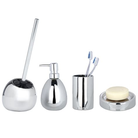 Chrome Bathroom Accessories Set Wenko Polaris Ceramic Bathroom Accessories Set Chrome At Plumbing Uk