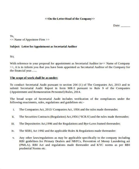 appointment letter format of auditor as per companies act 2013 auditors letter docoments ojazlink