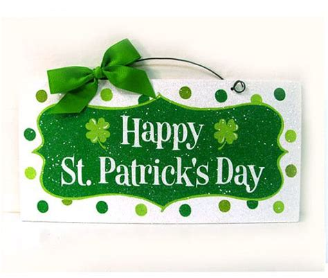 happy st patricks day sign polka dots and glitter