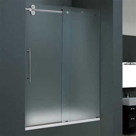 Vigo Industries Vg6041 Frosted Glass Inch Frameless Tub Frosted Shower Glass Doors