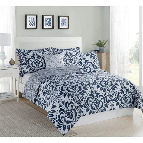 Studio 17 Anson Damask Navy White 5 Piece King Comforter Navy And White Bedding