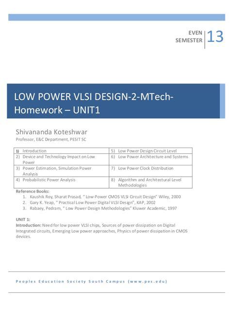 vlsi layout design techniques 2sem mtech low power vlsi design homework unit1