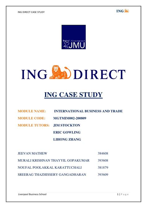 inc direct bank ing direct study