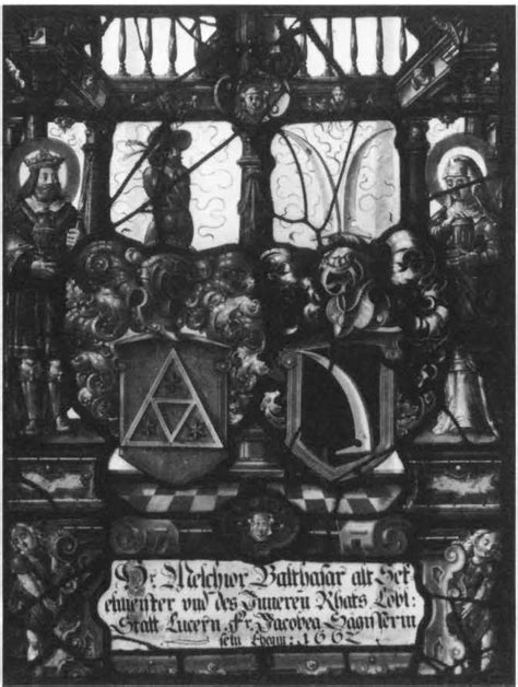 heraldic panel with arms of balthasar and sagesser