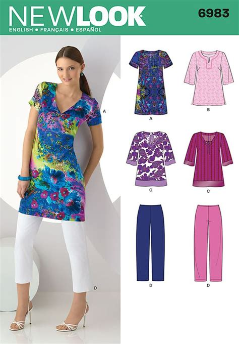 sewing seperates on pinterest free sewing womens womens tunic in two lengths sewing pattern 6983 new look