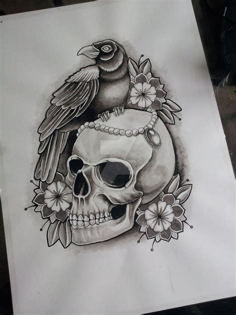 timon old school tattoo skull and crow tattoo design in progress by