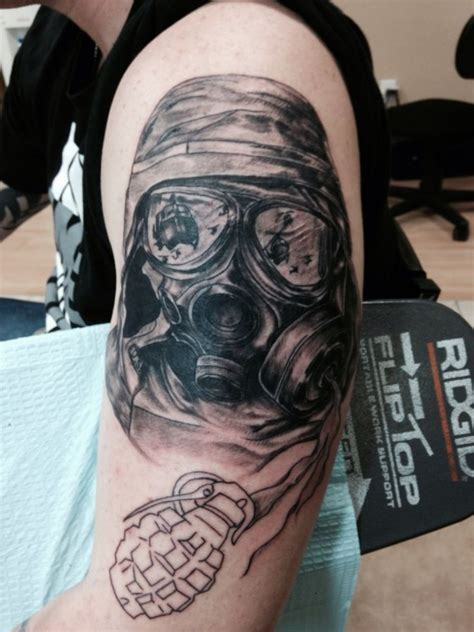 soldier with gas mask tattoo tattoomagz com tattoo