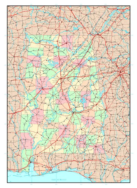 state of alabama map with cities large detailed administrative map of alabama state with