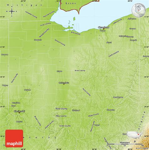 physical map of ohio physical map of ohio