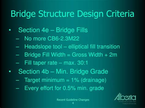 design criteria for bridges and other structures ppt recent at guideline changes powerpoint presentation