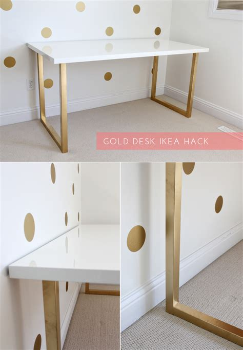 ikea table top hack just bella gold desk ikea hack