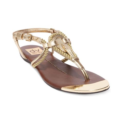 gold sandals for dolce vita dv by anica flat sandals in gold lyst