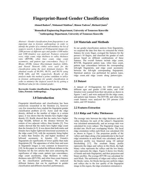fingerprint pattern classification pdf fingerprint based gender classification pdf download