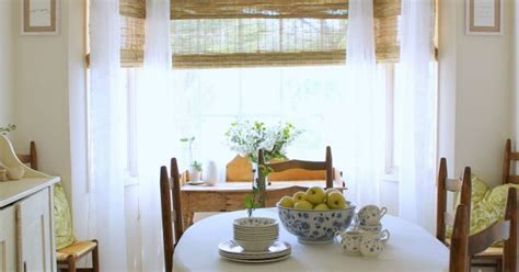 Bamboo Blinds Dining Room Bay Window Makeover With Bamboo Shades Hometalk