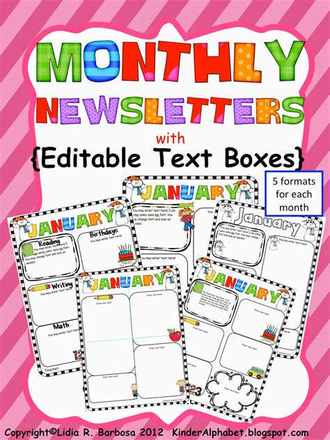 monthly newsletter template kinder alphabet resources in and
