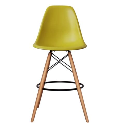 charles eames bar stool buy mustard plastic bar stool with beech legs from fusion