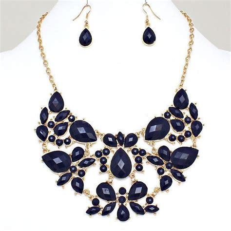 navy blue gold tone bubble bib statement costume jewelry