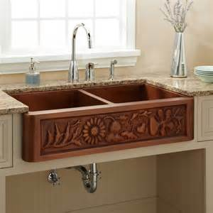71 quot copper farmhouse sink with dual drain boards kitchen