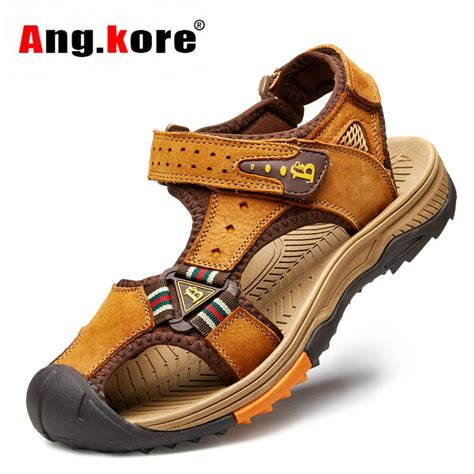 new 2016 brand mens sandals genuine leather cowhide shoes outdoor casual summer shoes