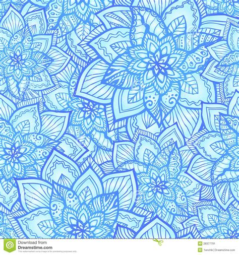 floral pattern in blue bright blue floral seamless pattern stock vector