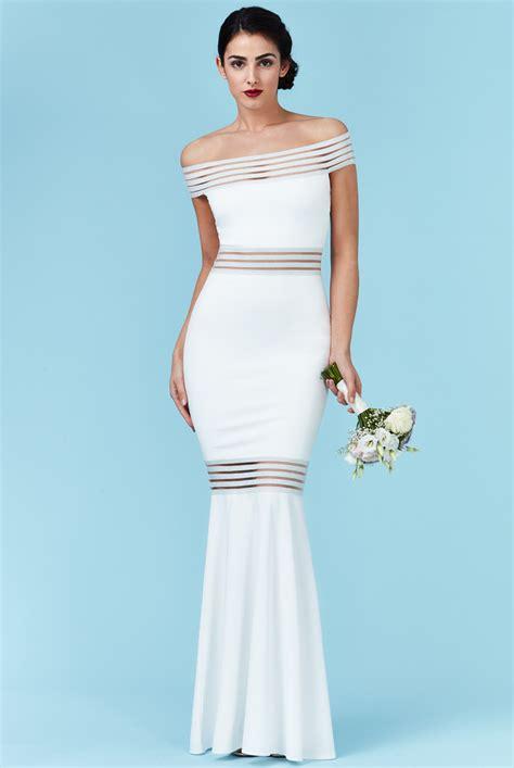 wholesale bardot fishtail maxi wedding dress city goddess