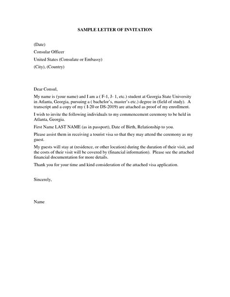 Employment Letter For B2 Visa Invitation Letter For Us Visa Template Resume Builder