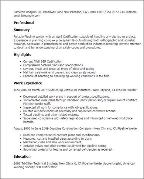 sle resume for welder professional pipeline welder templates to showcase your
