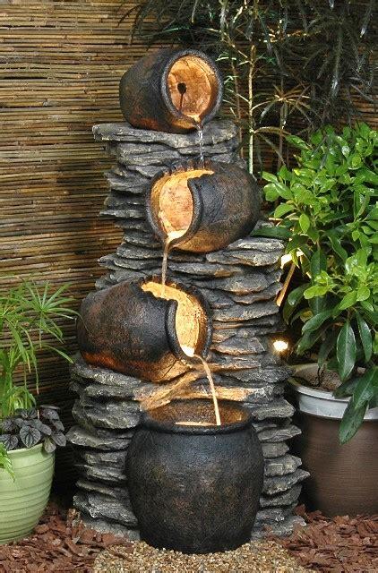 pots   rock oil jar water feature  lights