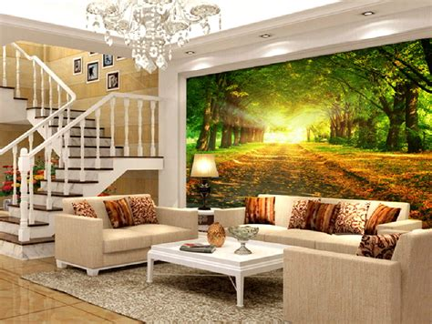 Large Wall Stickers For Living Room pvc autumn forest wallpaper for european villa living room