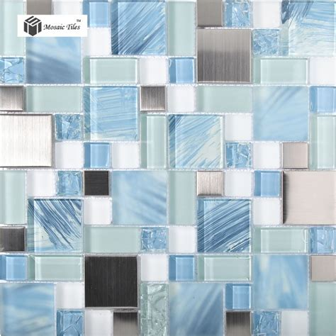 Blue Glass Tile Kitchen Backsplash tst glass metal tile blue sky cloud white kitchen bath