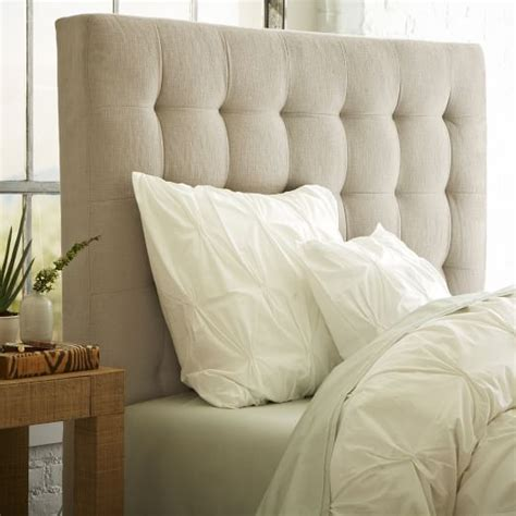 Wst 16578 Grid Front Button Skirt grid tufted headboard west elm