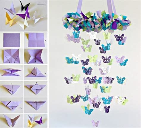 How To Make A Paper Butterfly Chandelier - butterfly mobile diy chandelier easy tutorial