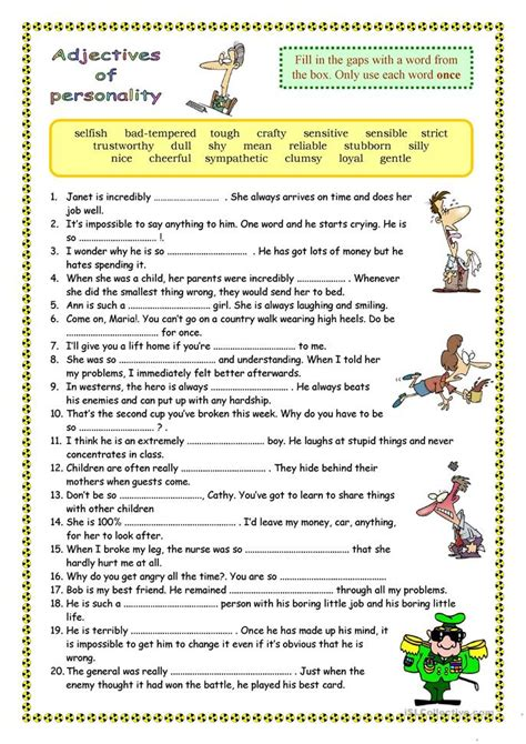 adjective patterns english exercises 207 free esl adjectives to describe personality and