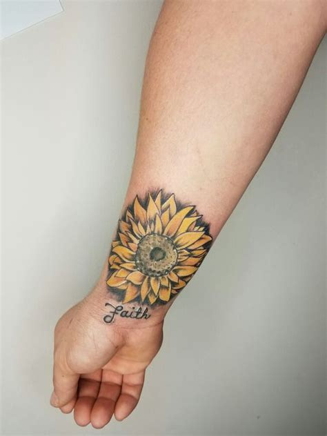 small sunflower tattoo on wrist sunflower wrist yellow flowers by kelsey at