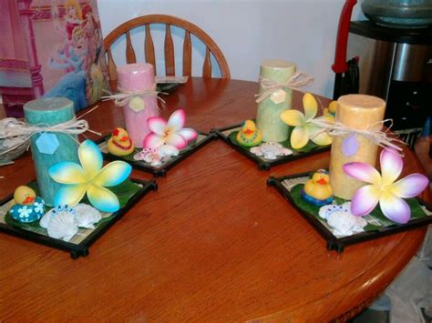 hawaiian table decorations ideas luau baby shower candle centerpieces my creations