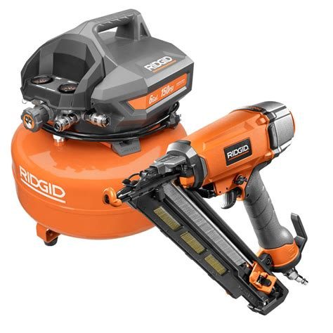 ridgid 6 gal electric pancake air compressor plus 2 1 2 in 15 angle finish nailer