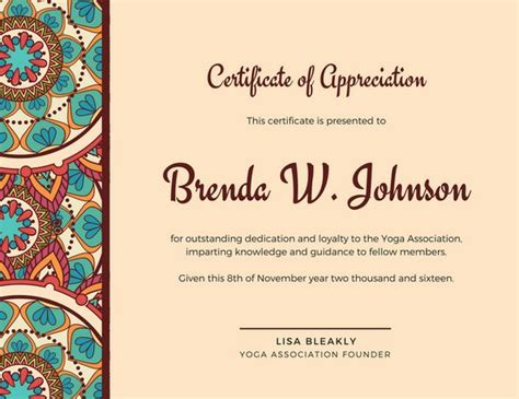 the pattern library license brown mandala bordered certificate of appreciation
