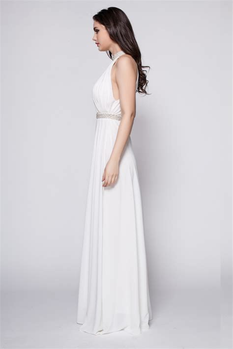 White Floor Length Dresses by White Floor Length Beaded Backless Evening Dress Prom Gown