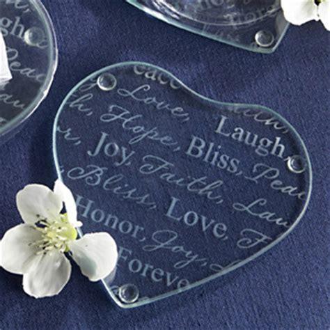 """Good Wishes"" Heart Glass Coasters   Heart Theme Wedding"