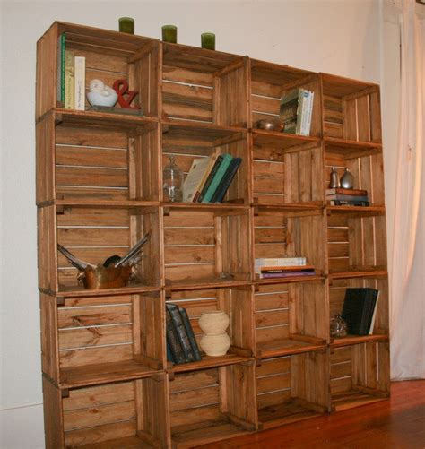 Bookcase Made From Crates sale wooden crate bookshelf bookcase storage solution reclaimed wood made to order storage