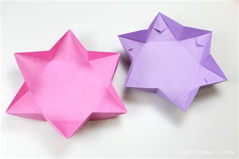 Origami Is - hexagonal origami dish bowl paper kawaii