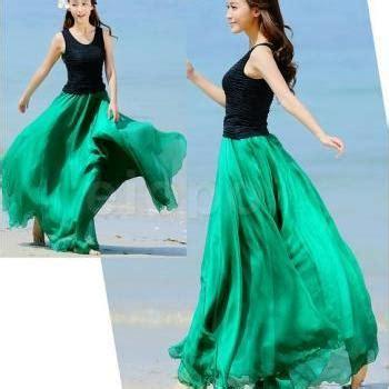 Best Seller Pleated Skirt 692 Rok Midi Rok Kerja blue cap sleeves summer bohemia style maxi dress