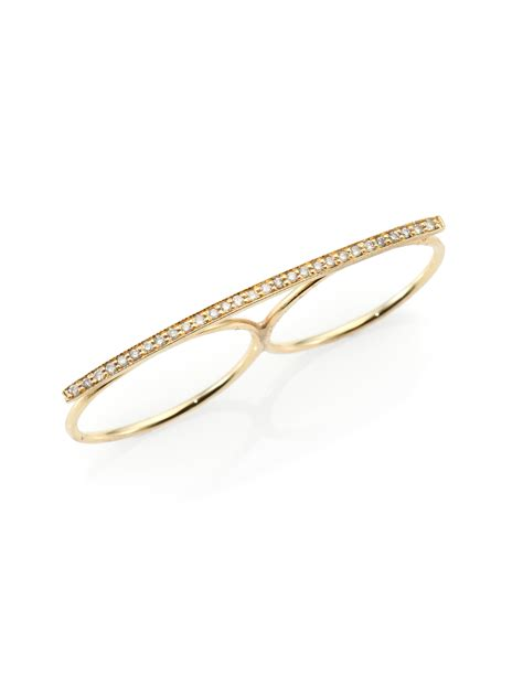 7 2 Finger Bar Rings by Jacquie Aiche 14k Gold Two Finger Bar Ring In